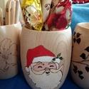 """Mikulásos tolltartó - Fa """"hordócska"""" tolltartó, Otthon, lakberendezés, Dekoráció, Karácsonyi, adventi apróságok, Tárolóeszköz, Ünnepi dekoráció, Karácsonyi dekoráció, , Meska"""