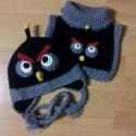 Angry Birds sapka (Bomb) + sál, Ruha, divat, cipő, Kendő, sál, sapka, kesztyű, Sapka, Sál, Horgolás, Angry Birds (Bomb) szett  A sapi tavaszra,kora őszre  bélés,kötő illetve fülvédő nélkül is készülhe..., Meska