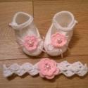 pántos baba cipő+ hajpánt, Ruha, divat, cipő, Cipő, papucs, Horgolás, Gyönyörű kis cipellő a kis hercegnőknek :-) Piha-puha baba fonalból horgolt fehér színű pántos baba..., Meska