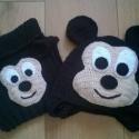 Mickey Mouse sapi sállal, Ruha, divat, cipő, Kendő, sál, sapka, kesztyű, Sál, Sapka, Horgolás, Egyedi készítésű horgolt Mickey egeres sapi és sál,őszintén ajánlom Nagyfiúknak és kisfiúknak egyar..., Meska