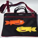 Balatoni narancs halak - laptop táska, Táska, Laptoptáska, Varrás, Erős cordura anyagból és vastag vatelinból készült ez a táska, amit laptop táskának terveztem és ké..., Meska