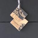 Orient medál lánccal, Ékszer, óra, Ruha, divat, cipő, Medál, Nyaklánc, Decoupage, szalvétatechnika, Ékszerkészítés, Fekete-arany-barna színkombinációjú medált készítettem. A medál alakja saját ötlet,a formát is maga..., Meska