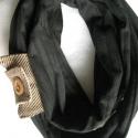 Fekete körsál/csősál két kötővel UNISZEX, Ruha, divat, cipő, Kendő, sál, sapka, kesztyű, Sál, Varrás, Pároddal közös sálatok lehet!:) Pamutdzsörzéből készítettem fekete körsálat, melyhez két kötőt/kark..., Meska