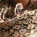 Körsál/ csősál /fekete-ciklámen apróvirágos, Ruha, divat, cipő, Kendő, sál, sapka, kesztyű, Sál, Varrás, Készen van, gyorsan postázok!!!!!!!   Fekete alapon ciklámen virágok vannak szétszórva ennek a sáln..., Meska