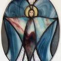Kék angyal ablakkép Tiffany technikával, Otthon, lakberendezés, Dekoráció, , Meska