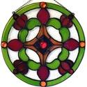 Piros-zöld mandala ablakkép Tiffany technikával, Otthon, lakberendezés, Dekoráció, , Meska