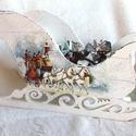 A Mikulás szánkója, édességnek, asztaldísznek, Otthon, lakberendezés, Kaspó, virágtartó, váza, korsó, cserép, Decoupage, szalvétatechnika, 30 cm hosszú, 15 cm széles  nagy szánkót, festéssel, antikólással, egyéb kiegészítők felhasználásáv..., Meska