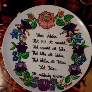 Kalocsai kézzel festett házi áldásos tál ., Otthon & Lakás, Házi áldás, Spiritualitás & Vallás, Festett tárgyak, Szabad kézzel festem ,eredeti kalocsai minta alapján . Száradás után ki égetem . Falra akasztható ., Meska