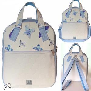 """Pillangós textilbőr """"RITA"""" 4 az 1-ben női táska/hátizsák, Táska & Tok, Variálható táska, Varrás, Fehér méhsejtmintásan steppelt és kék pillangós designer textilbőrből készült különleges többfunkci..., Meska"""