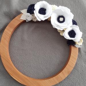 Kék kopogtató, Otthon & Lakás, Dekoráció, Ajtódísz & Kopogtató, Mindenmás, Saját készítésű filc virágokkal díszített kopogtató. Alapja 30 cm átmérőjű fa, melyet a férjem kész..., Meska