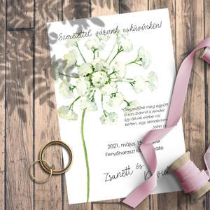 Esküvői meghívó vadvirágok akvarellel festve, Esküvő, Meghívó, Meghívó & Kártya, Fotó, grafika, rajz, illusztráció, Kedves vadvirágok akvarellel festve.  Ehhez a kollekcióhoz kevés színt használtam, de azoknak sok-s..., Meska