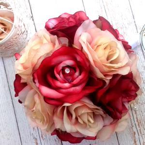 Provanszi-vintage selyemcsokor, Esküvő, Menyasszonyi- és dobócsokor, Virágkötés, Vintage romantikus selyemvirág fejekből kötöttem a pazar mégis finom elegáns sugárzó tartós örök cs..., Meska