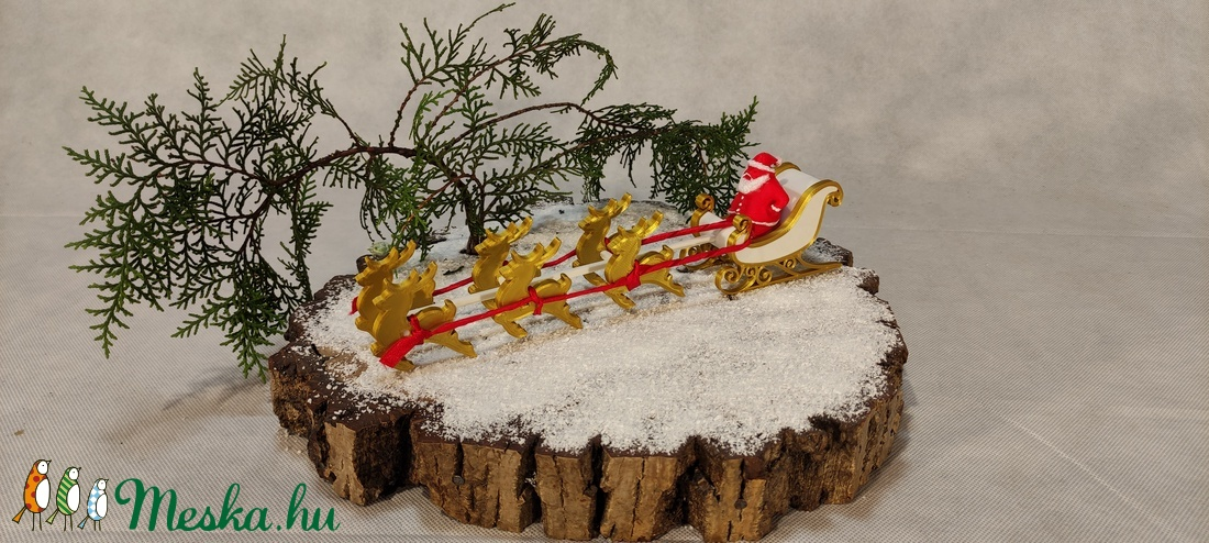 Télapó, rénszarvas szánnal - karácsony - karácsonyi lakásdekoráció - karácsonyi falu, házikó - Meska.hu