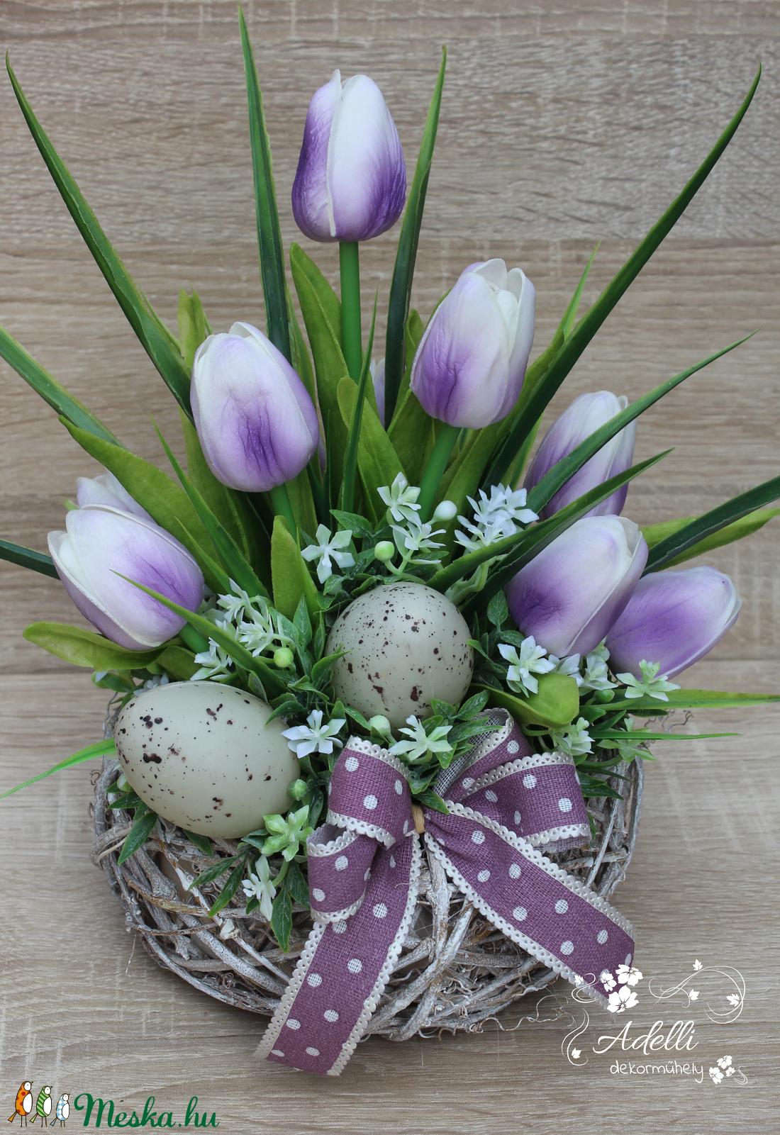 Húsvéti/tavaszi asztaldísz tulipánnal (AdelliDekor) - Meska.hu