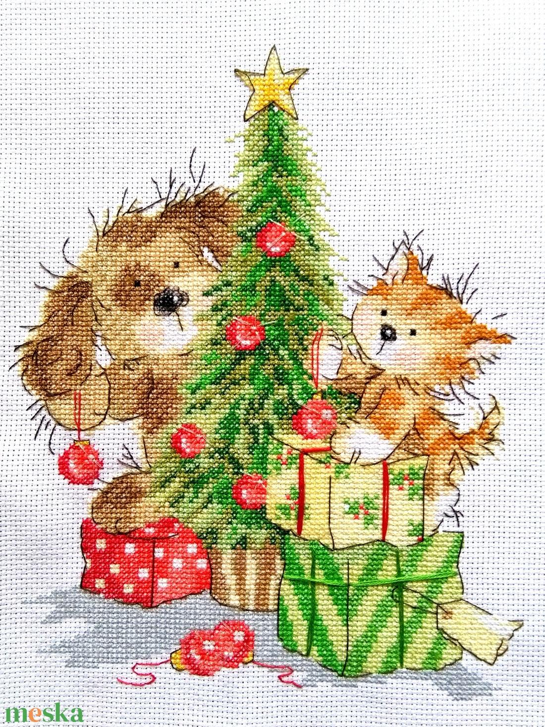 Kutya-cica karácsony - díszítsünk együtt! - Meska.hu