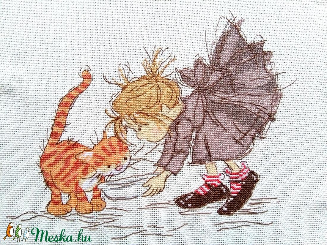 Kislány és a cicája - Meska.hu