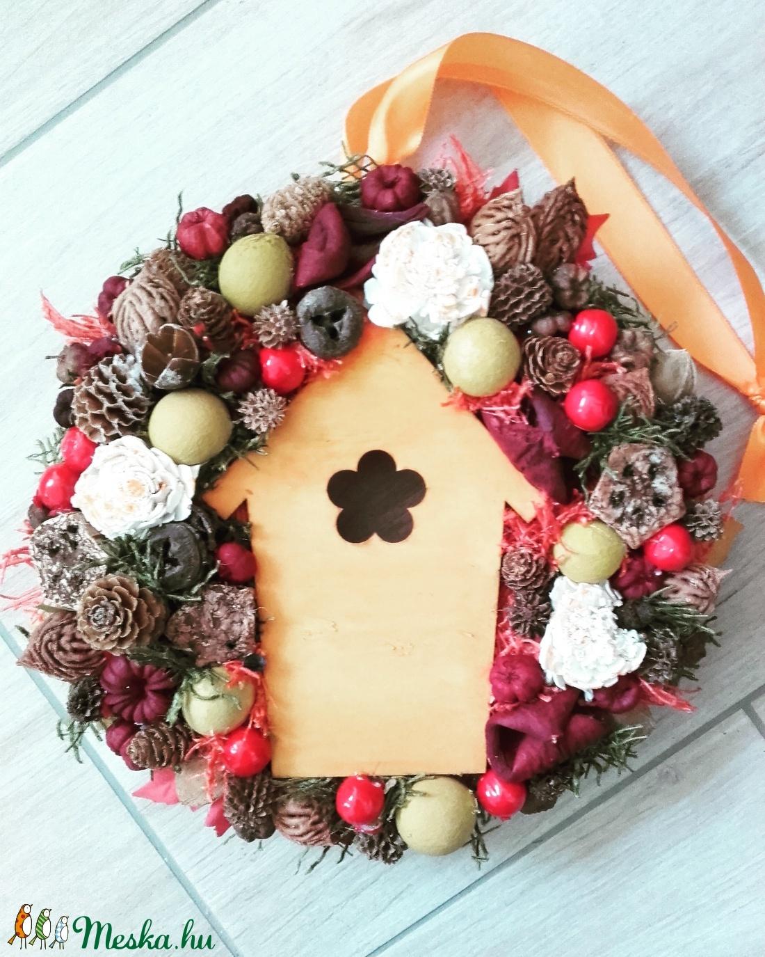 HÁZIKÓS őszi-tarka-vidám kopogtató, ajtódísz-KÉSZTERMÉK - otthon & lakás - dekoráció - ajtódísz & kopogtató - Meska.hu