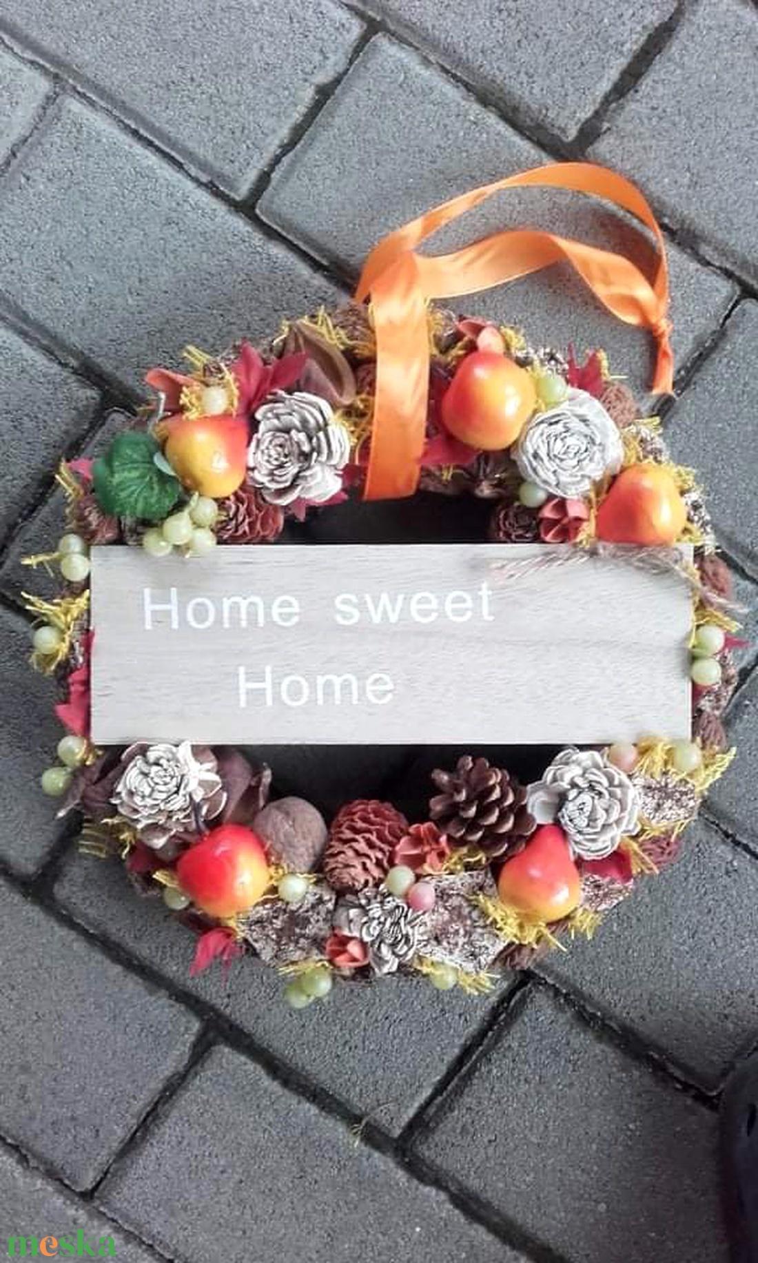 HOME őszi-tarka-terméses dísz, kopogtató, ajtódísz - otthon & lakás - dekoráció - ajtódísz & kopogtató - Meska.hu
