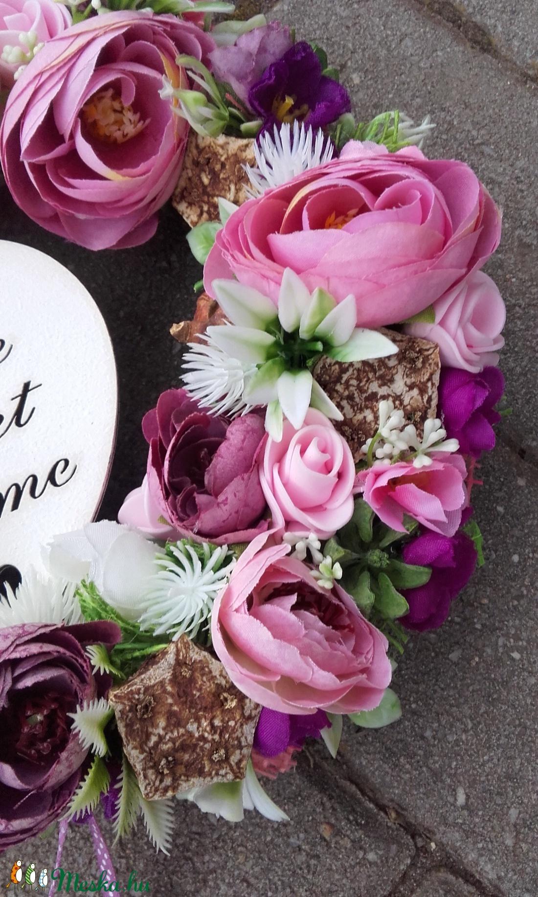 HOME SWEET HOME virágos tavaszi kopogtató, ajtódísz, falidísz - otthon & lakás - dekoráció - ajtódísz & kopogtató - Meska.hu