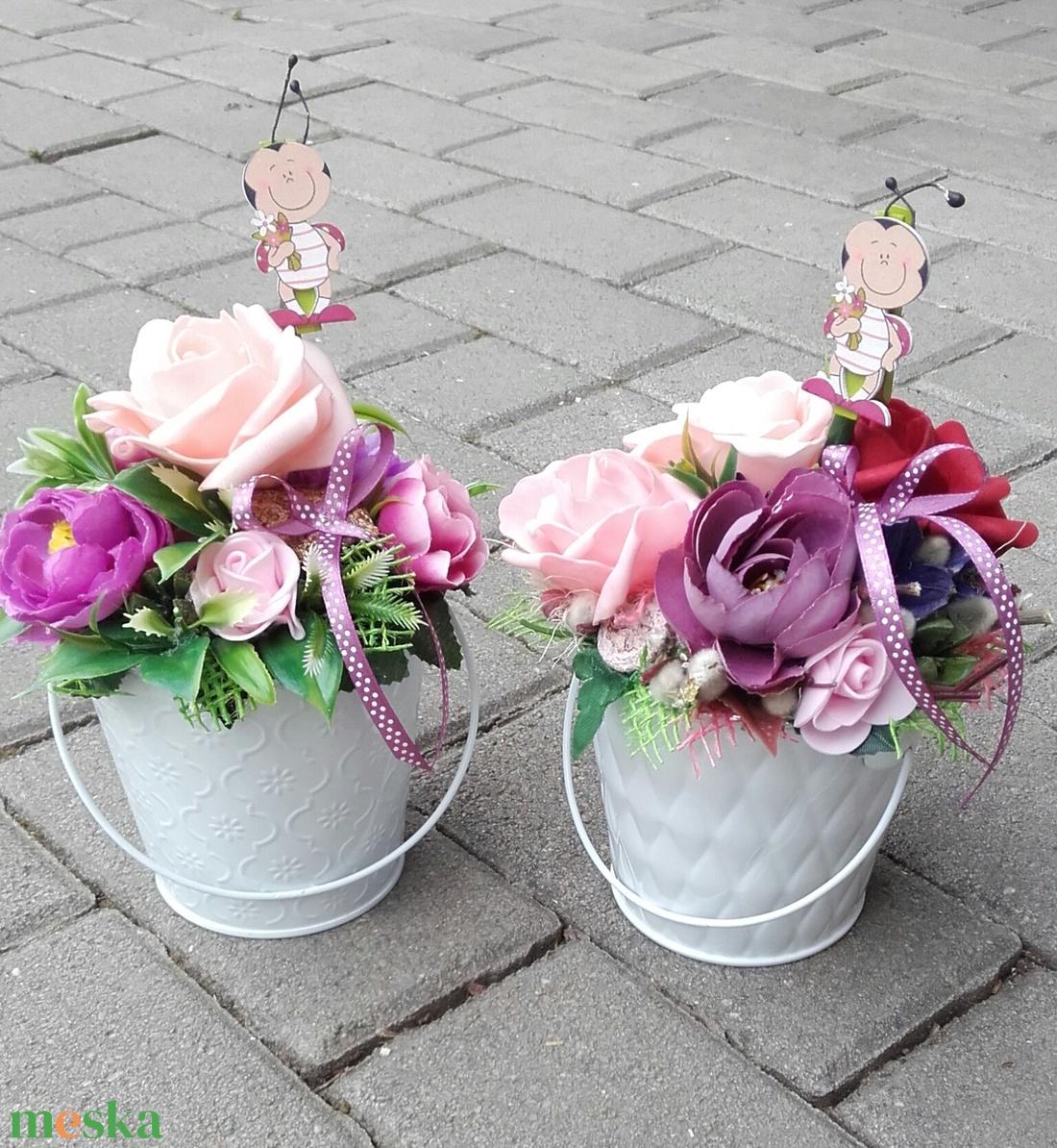 Virágos tavaszi-habrózsás asztaldísz, dísz, ANYÁK NAPJA, SZÜLINAP, N�VNAP - otthon & lakás - dekoráció - asztaldísz - Meska.hu