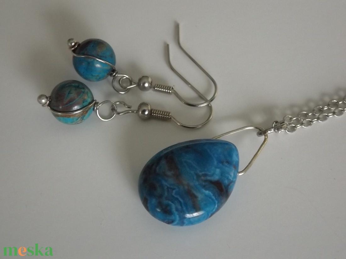 f754606bd Ezüst-kék csipkeachát szett, fülbevaló, medál, türkiz, ásvány, ajándék,  nyár, nőnek, lánynak (agnesasvanyaruhaza) - Meska.hu