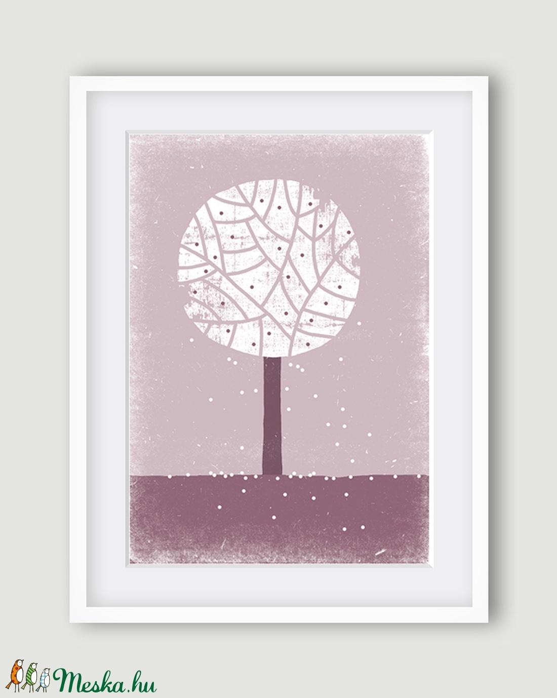 Babaszoba, gyerekszoba dekoráció, fali kép - Évszak sorozat - tavaszi fa, lila, fehér - A4 ...