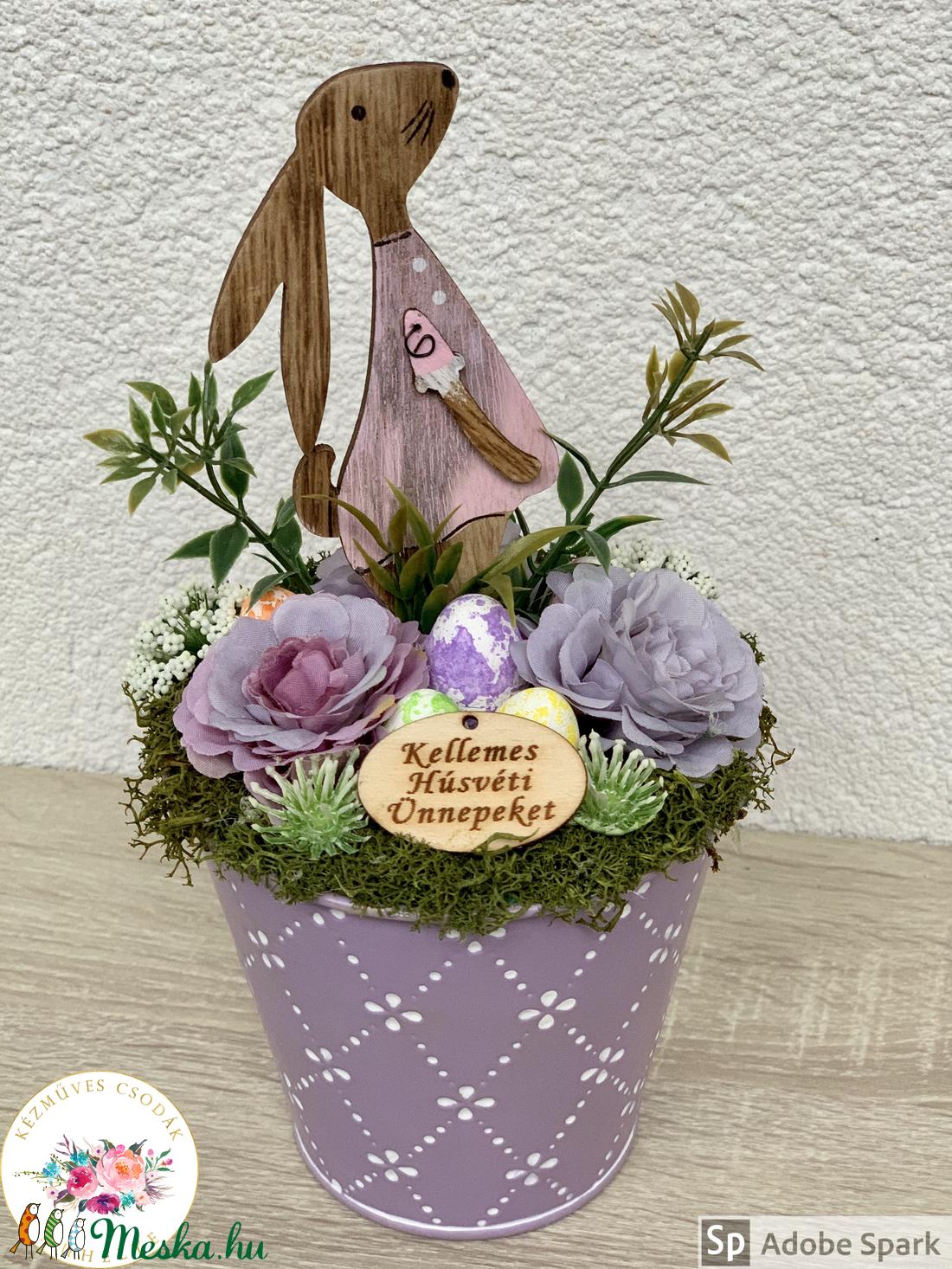 Fából készült húsvéti nyuszik - asztaldísz, dekoráció (AKezmuvescsodak) - Meska.hu
