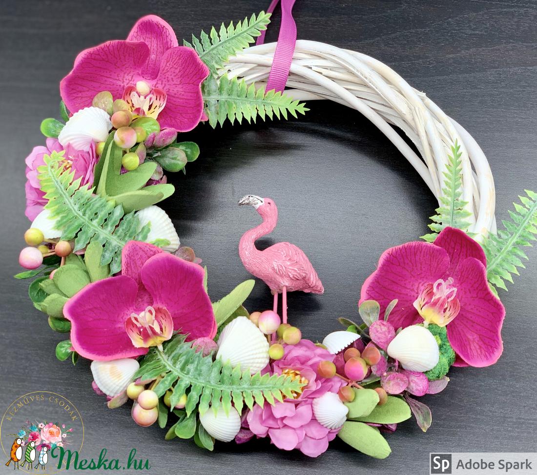 Trópusi flamingós, orchideás kopogtató - ajtódísz, dekoráció (AKezmuvescsodak) - Meska.hu