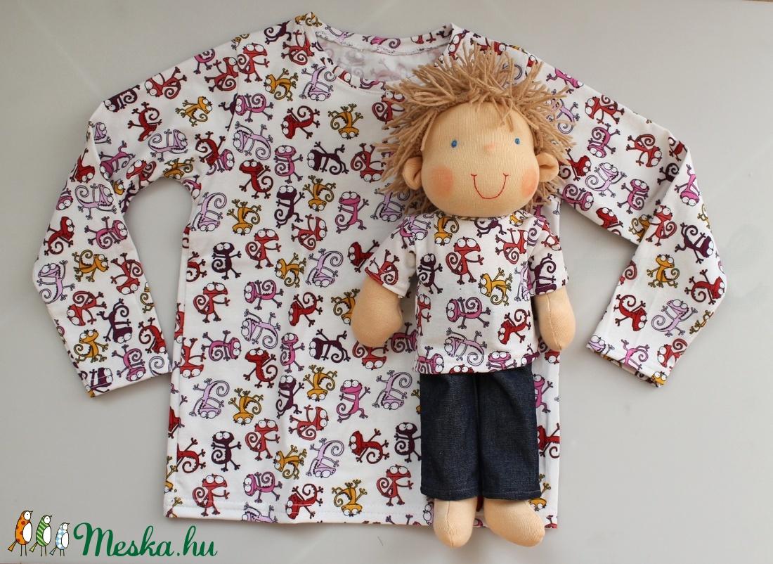 Waldorf fiú baba és azonos anyagból készült kisfiú póló- gyíkos (Aledi) -  Meska.hu 00ae586872
