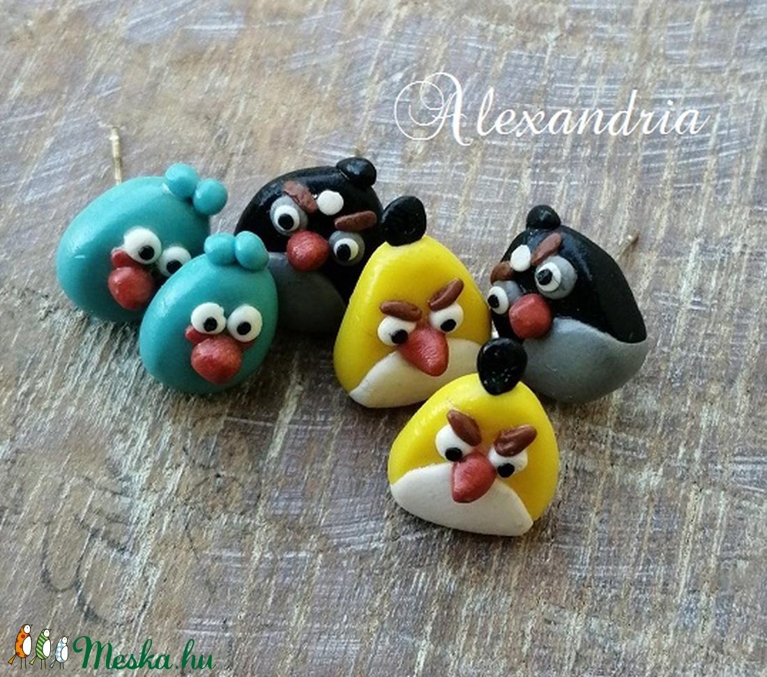 Angry birds fülik - ékszer - fülbevaló - pötty fülbevaló - Meska.hu