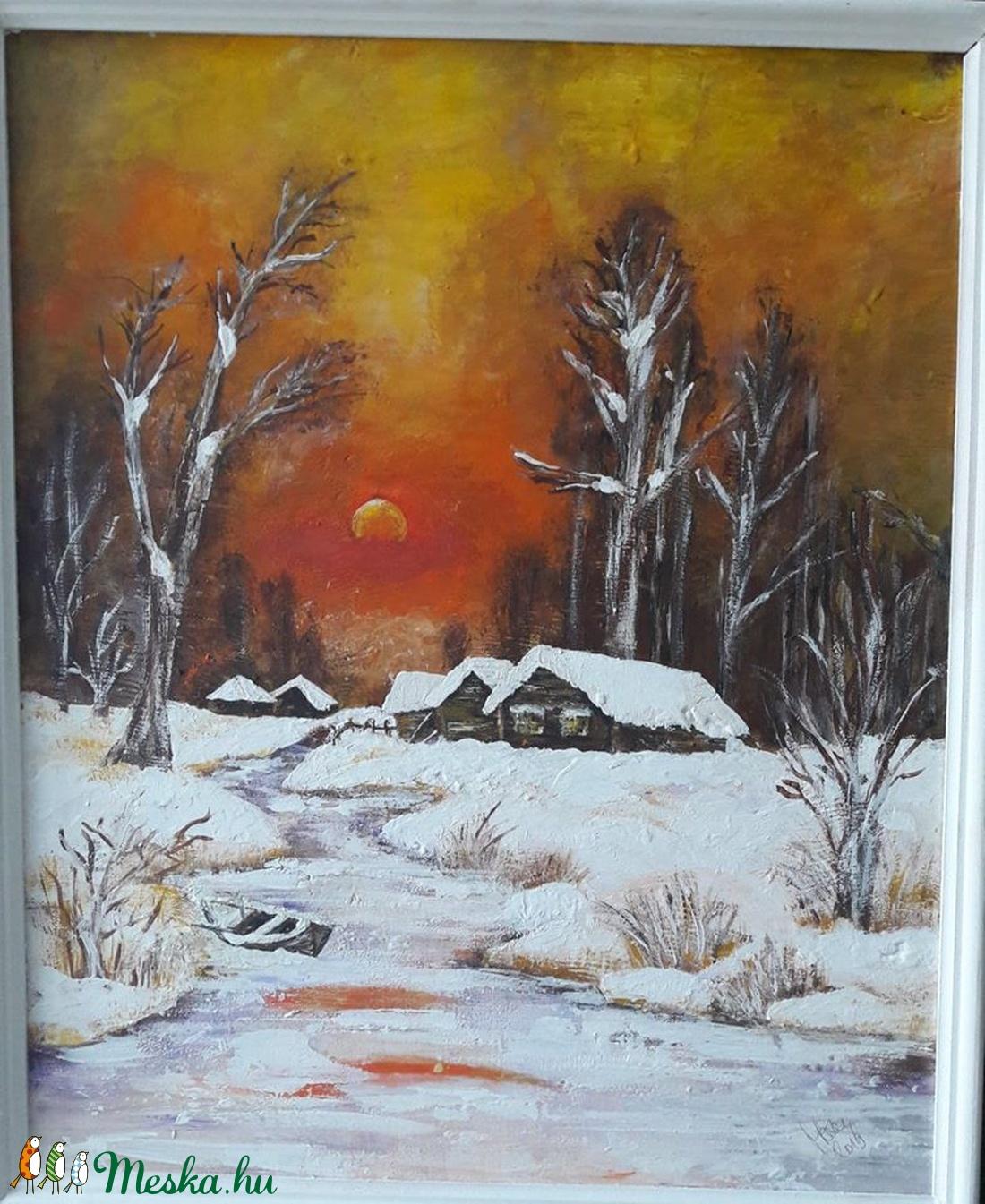 Tél - Jég - Szép - akril festmény - művészet - festmény - akril - Meska.hu
