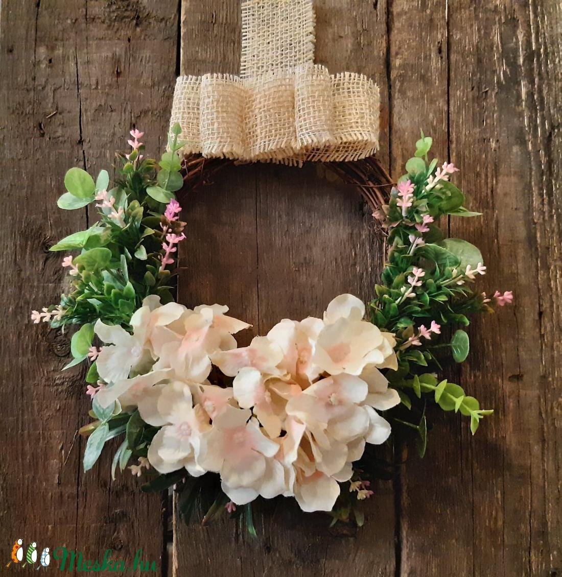 Tavaszi ajtódísz - hortenziás - otthon & lakás - dekoráció - ajtódísz & kopogtató - Meska.hu