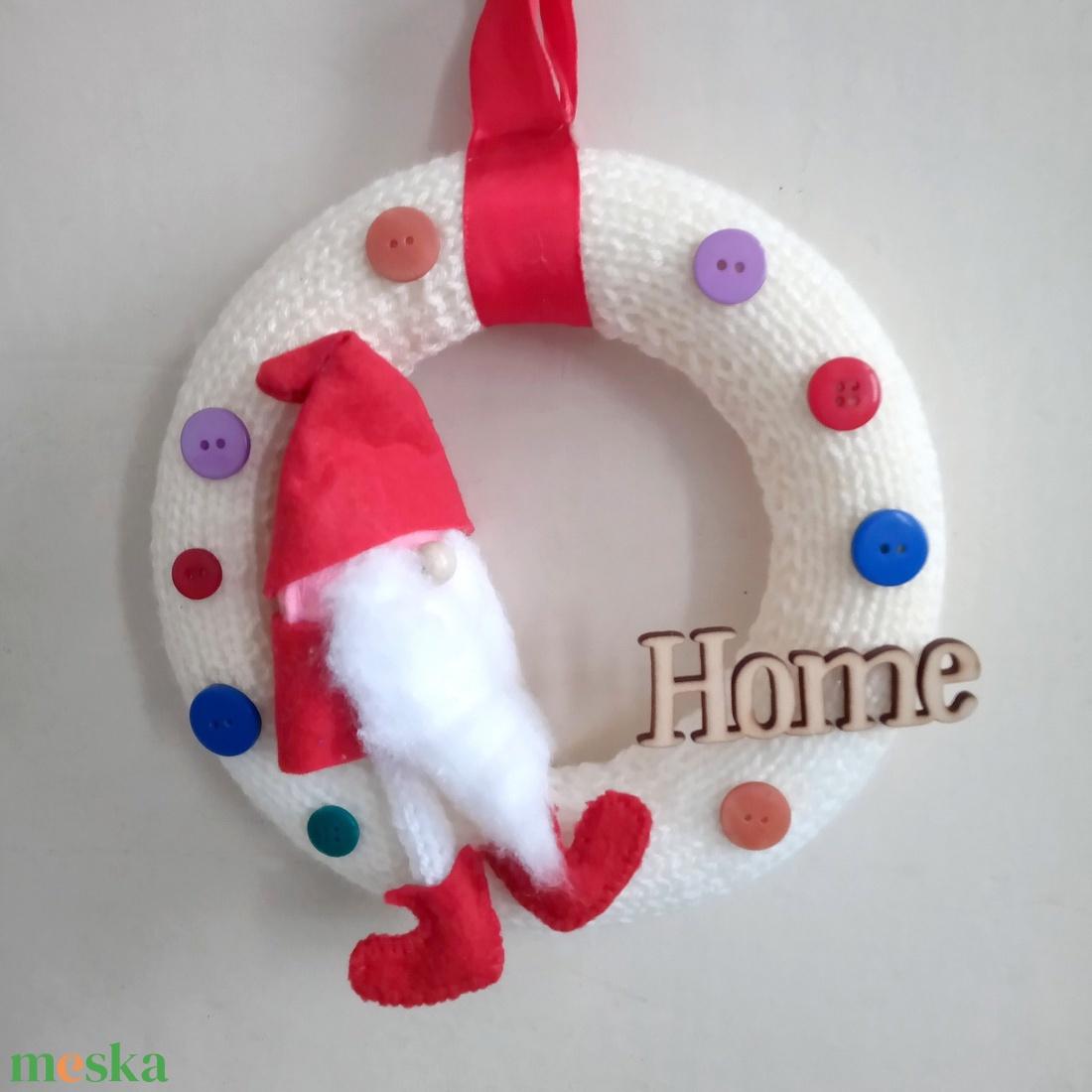Sweet home koszorú, ajtódísz piros manóval - otthon & lakás - dekoráció - ajtódísz & kopogtató - Meska.hu