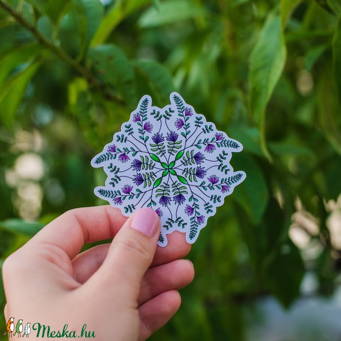 Növényi motívumos mandala matrica (lila virágos) (AndiDekor) - Meska.hu