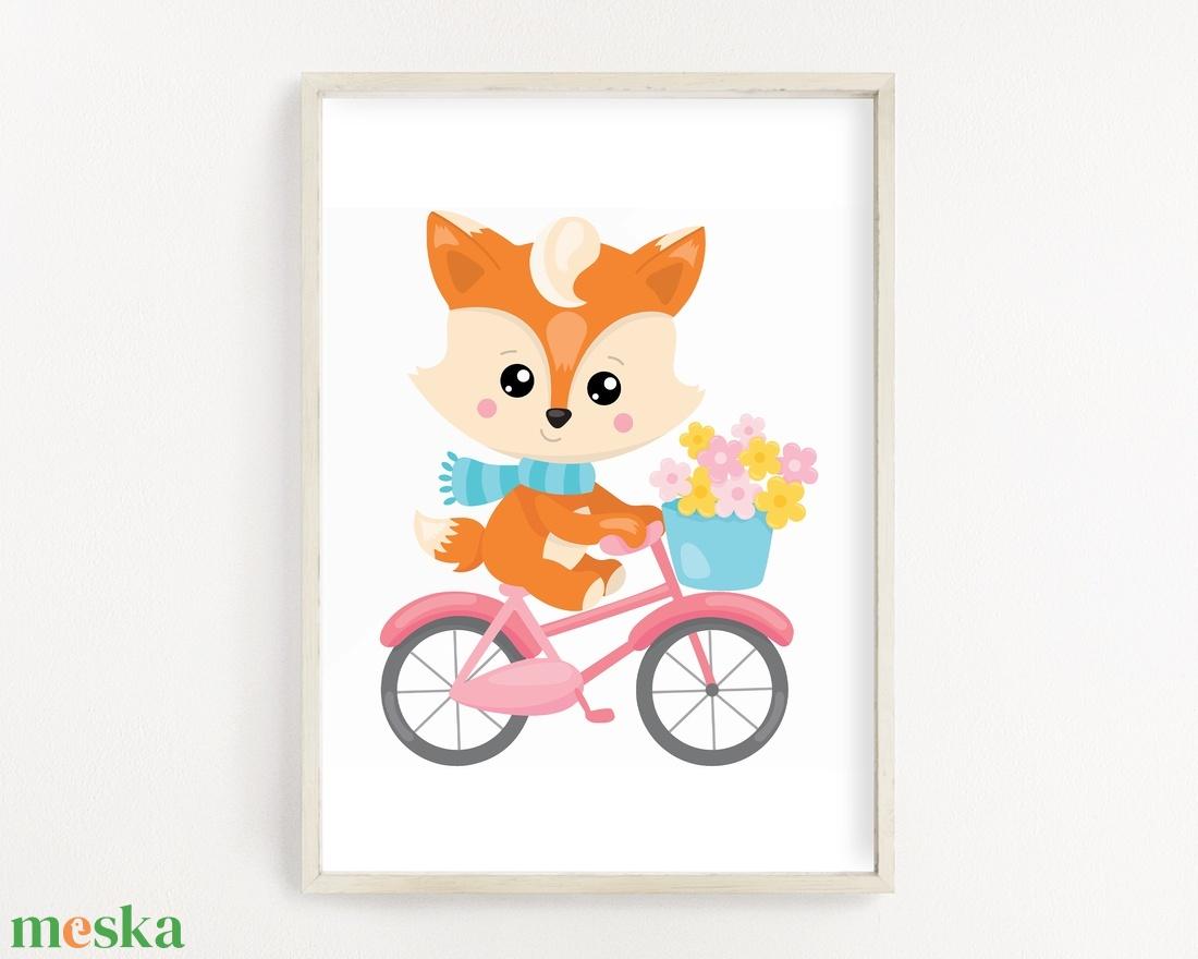 Biciklis róka gyerekszoba poszter A4 - Meska.hu