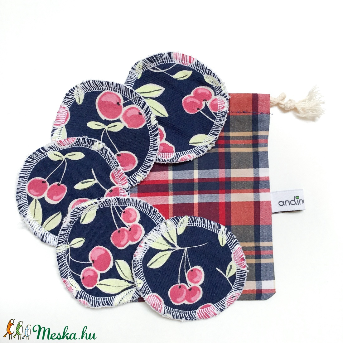 5 db cseresznyés arctisztító korong mosózsákkal - sminklemosó kozmetikai vatta, zero waste karácsonyi jándék - szépségápolás - arcápolás - arctisztító korong - Meska.hu