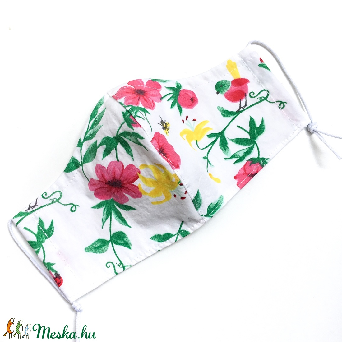 Tavaszi Virágos nőies szájmaszk mosható pamutból - arcmaszk opcionális dróttal felnőtt, kislány, női és gyerek méretben - maszk, arcmaszk - női - Meska.hu