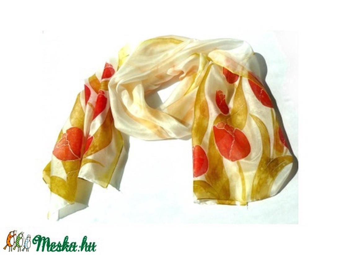 f2c13a2736 Piros tulipános selyem sál (Andrea85) - Meska.hu