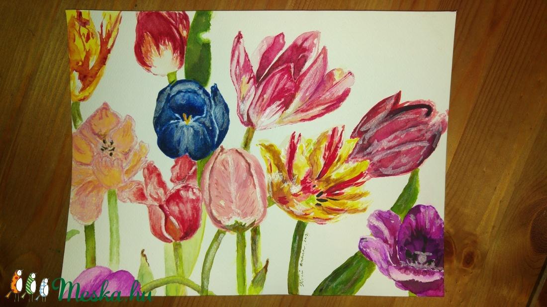 Tulipán akvarell falikép/ festmény (andreakosar) - Meska.hu