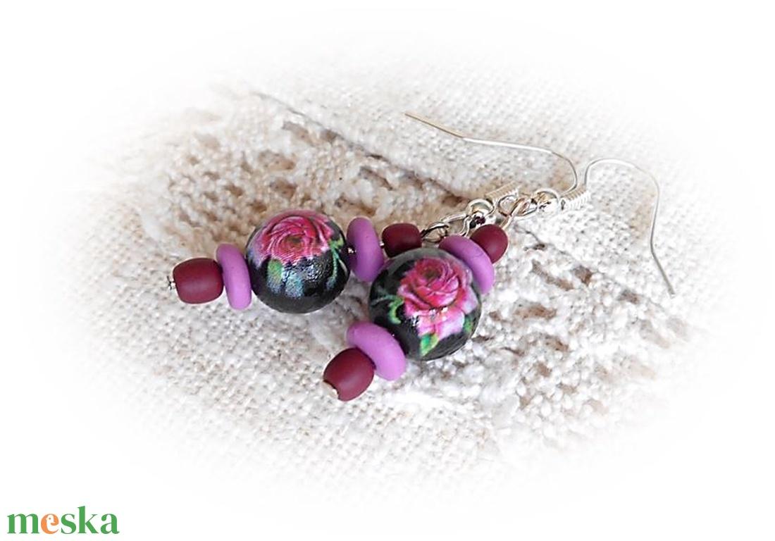 Romantikus rózsás fülbevaló - ékszer - fülbevaló - lógó fülbevaló - Meska.hu