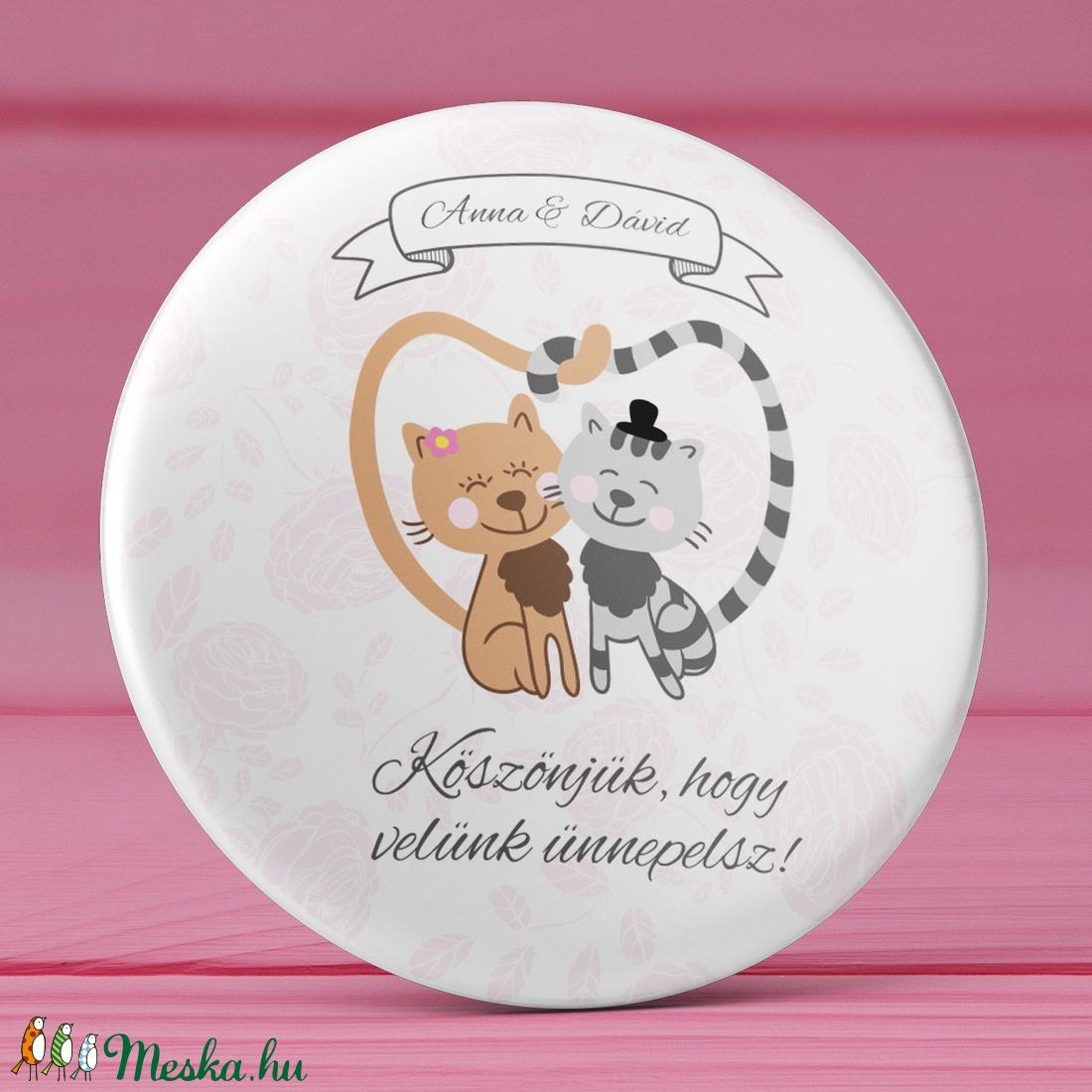 76d0edcefe Cica esküvői köszönet ajándék hűtőmágnes - Esküvői köszönőajándék mágnes