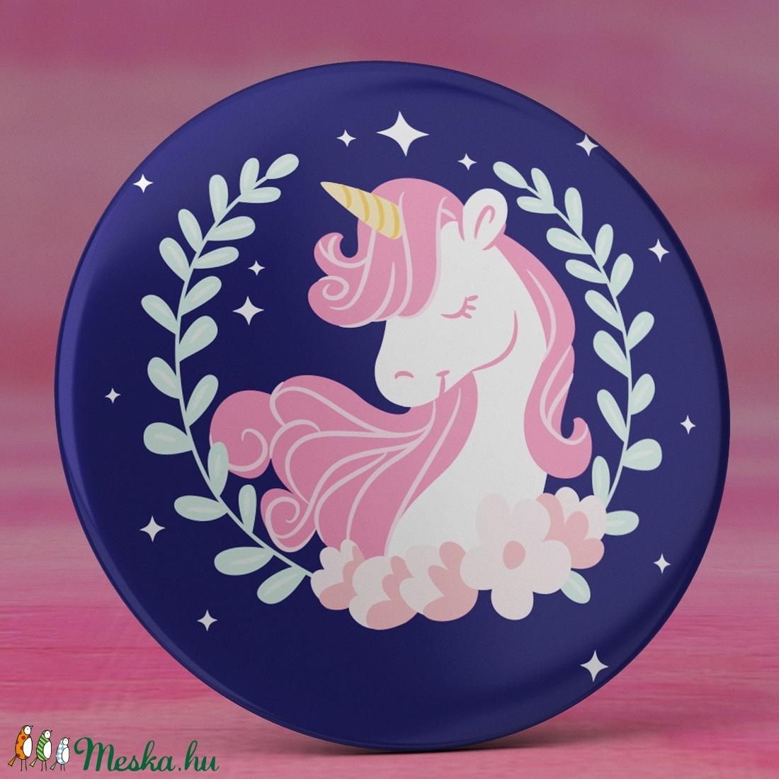 Unikornis hűtőmágnes - kék mágnes - cuki hűtőmágnes - unikornis ajándék - lányos ajándék - cuki rózsaszín unikornis (AngelPin) - Meska.hu