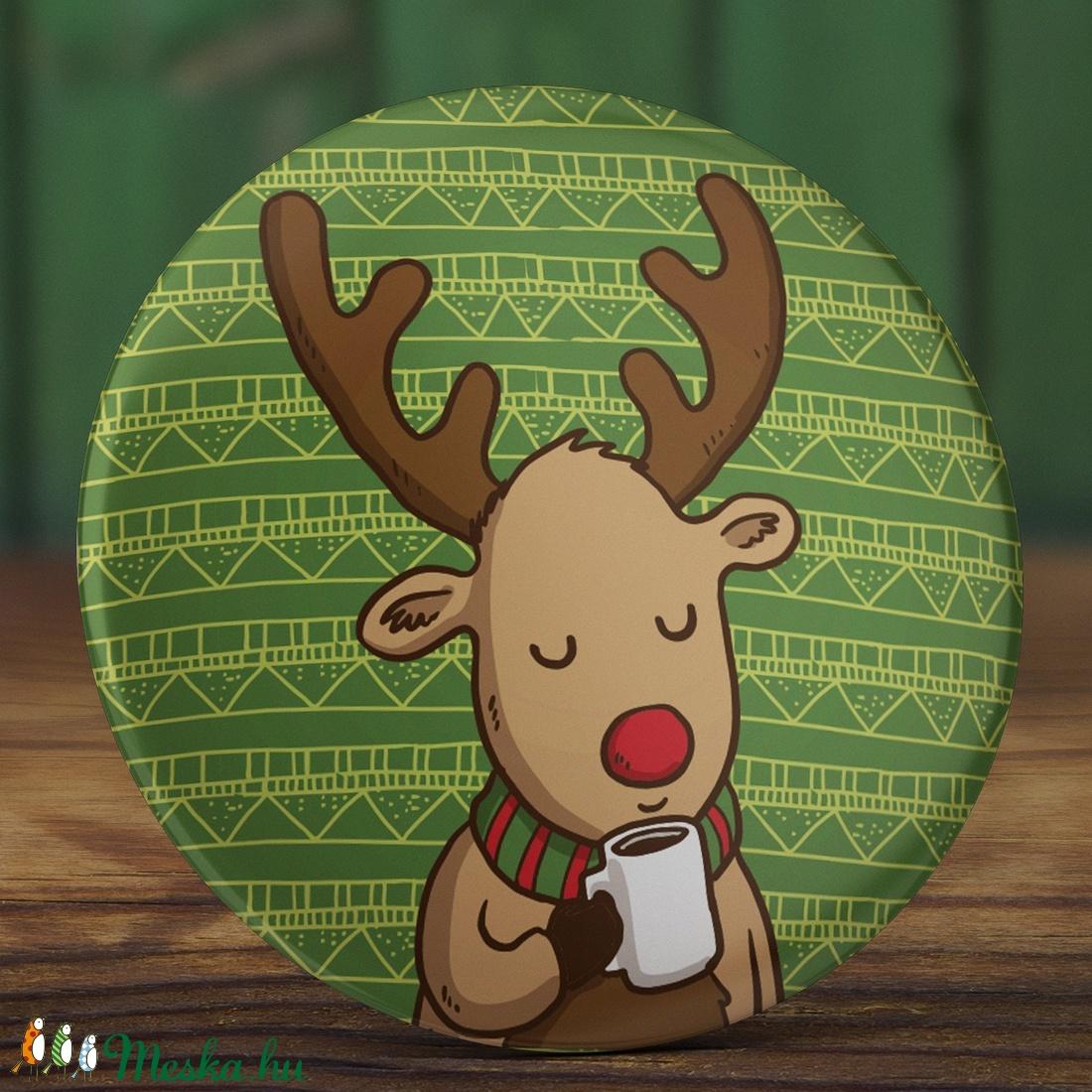 Karácsonyi tükör - Kávézó szarvas zsebtükör - őz tükör - karácsony tükör  - őzike tükör - karácsony ajándék - kávé (AngelPin) - Meska.hu