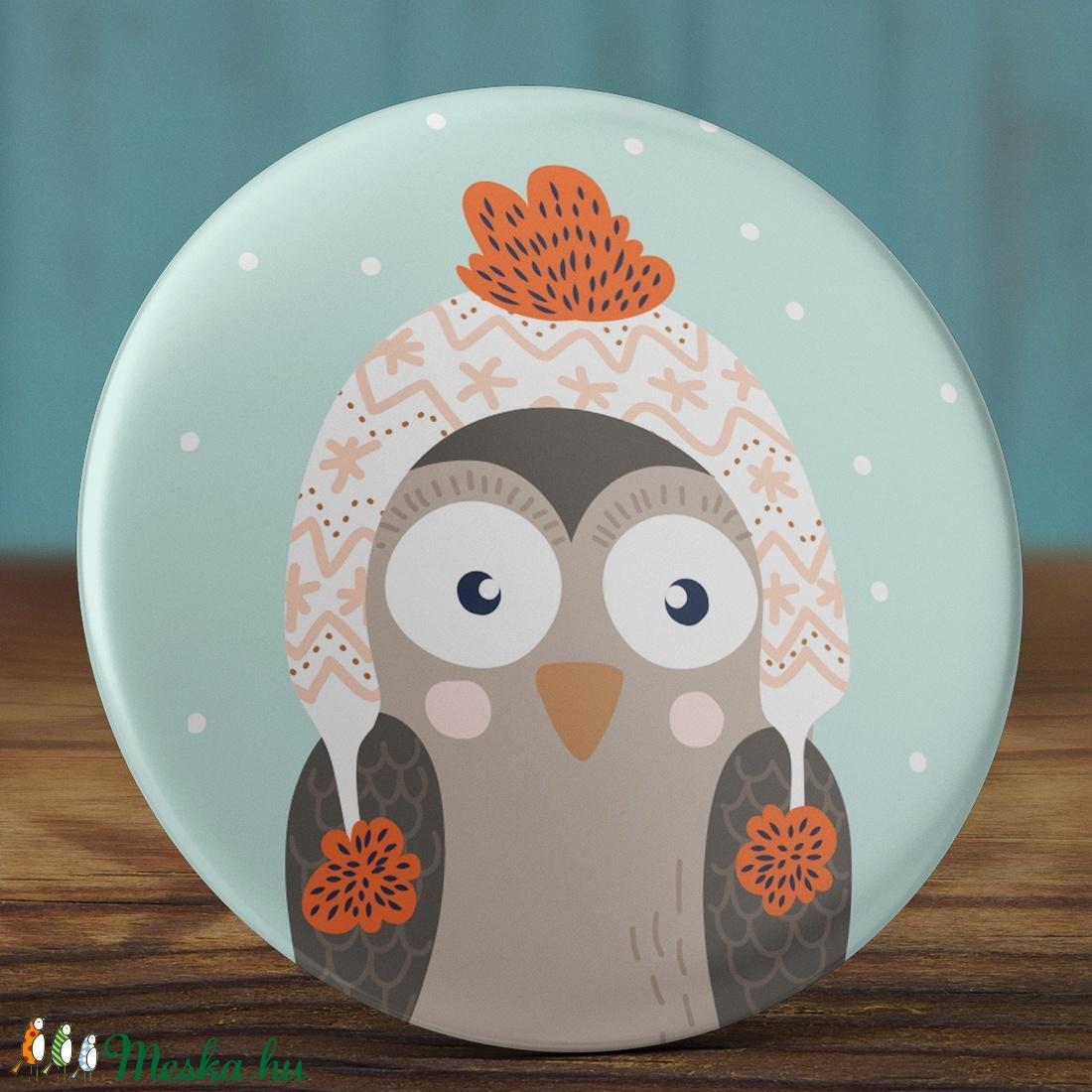 Karácsonyi tükör - Sapkás bagoly zsebtükör - karácsony zsebtükör  - bagoly tükör - karácsony ajándék - tél (AngelPin) - Meska.hu