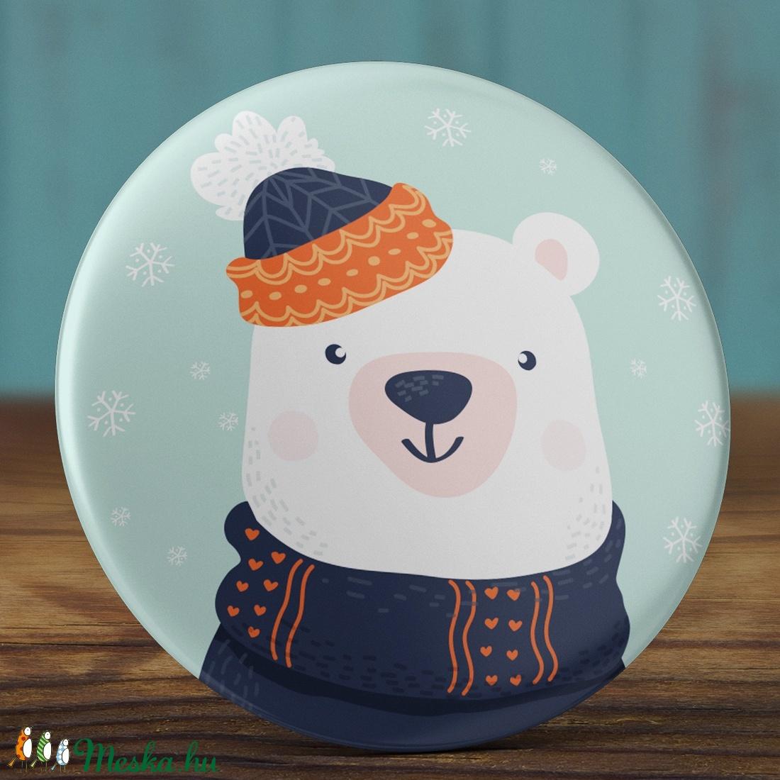 Karácsonyi mágnes - Jegesmedve mágnes - karácsony hűtőmágnes - jegesmedve hűtőmágnes - karácsony ajándék - tél (AngelPin) - Meska.hu
