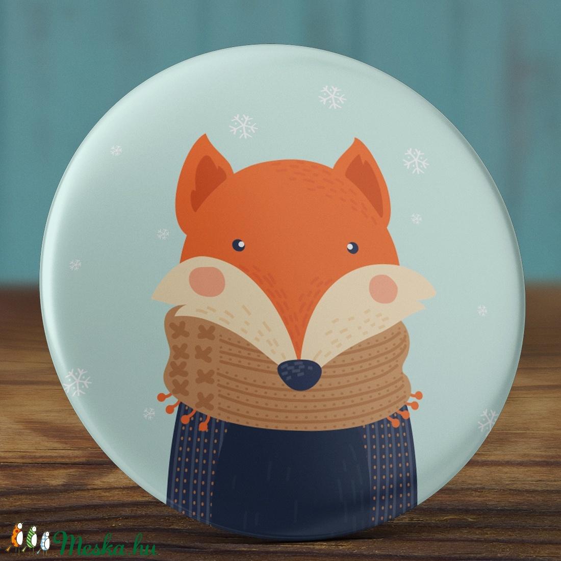 Karácsonyi tükör - rókás zsebtükör - karácsony tükör - rókás tükör - karácsony ajándék - tél - róka - téli állatok (AngelPin) - Meska.hu