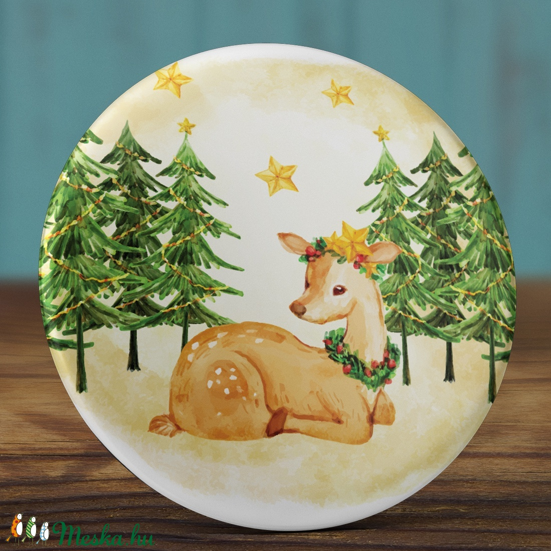 Karácsonyi tükör - Szarvas zsebtükör - őz tükör - karácsony zsebtükör  - őzike tükör - karácsony ajándék - karácsonyfa (AngelPin) - Meska.hu