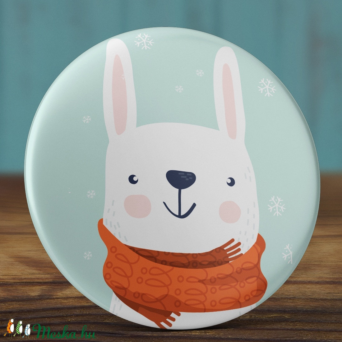 Karácsonyi tükör- Hó nyuszi tükör- nyuszi tükör - tél tükör - sálas nyúl zsebtükör - karácsony ajándék - sál - tél - hó (AngelPin) - Meska.hu