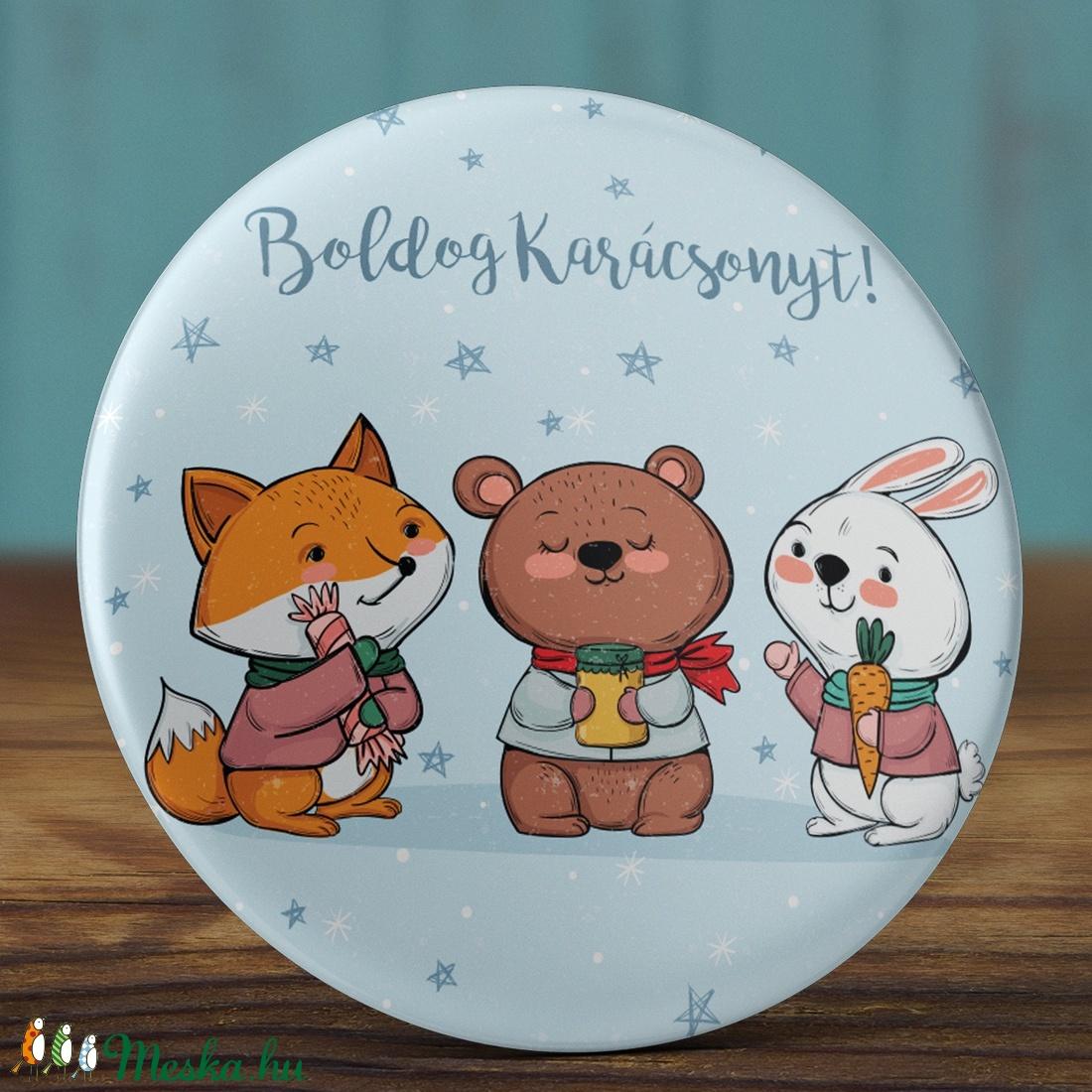 Karácsonyi mágnes - téli állatok mágnes - karácsonyi állatok mágnes - tél mágnes - hűtőmágnes - róka - medve - nyuszi (AngelPin) - Meska.hu