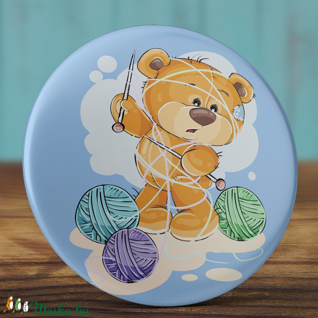 Kötős maci tükör - kötött zsebtükör - maci  tükör - medve tükör - cuki ajándék - maci - fonal - kötőtű - fiú - lány (AngelPin) - Meska.hu